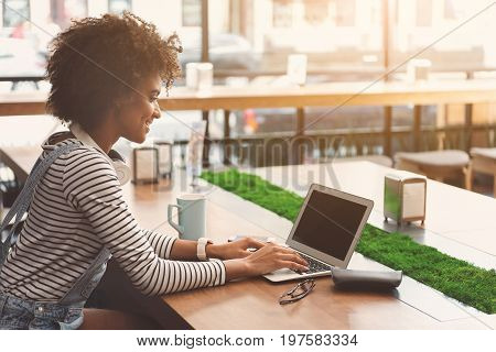 Helpful device. Pleasant delighted girl is sitting at table in sunny cafe and working with laptop while expressing interest. Copy space in the right side