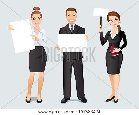 Three happy young employees holding three posters with space for your text or product.  Flat design, vector illustration.