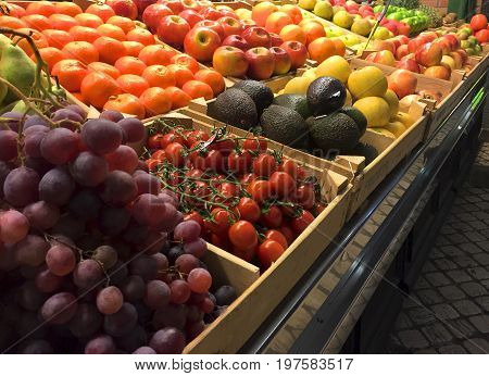 Close up of an indoor fruit market