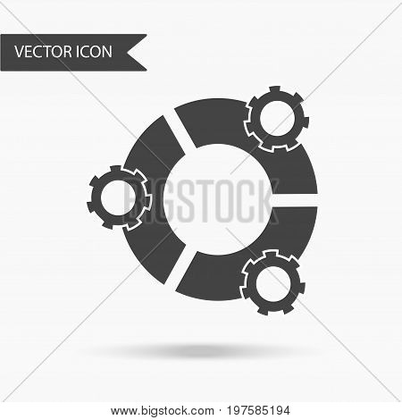 Icon with the image of 3 sectors of the form of a circle and gears on a white background. The flat icon for your web design logo UI. Vector illustration.