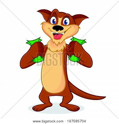 Weasel Cartoon Mascot Holding Money