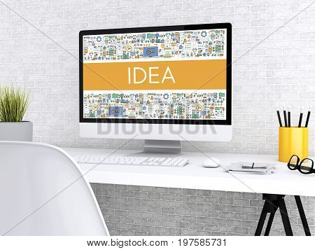 3D Computer With Word Idea.