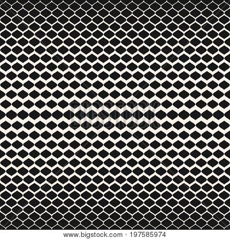 Halftone seamless pattern. Vector monochrome texture with gradient transition effect from dark to light. Mesh pattern. Illustration of mesh, lattice, tissue. Abstract repeat background. Design for prints, decor.