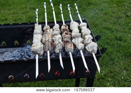 Barbeque Skewers With Meat Rotating And Cooking On The Grill Outdoors With Smoke
