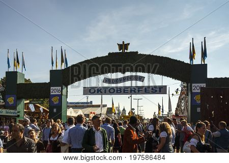 Munich Germany - September 24 2016: Main entrance of the Theresienwiese to the Oktoberfest in Munich