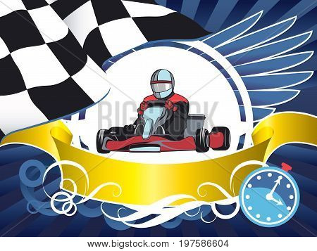 Layout on a sports theme, Race car, Kart, Competition, Championship, Winner. Layout with Race car, Kart, finish flag, wings, ribbon and stopwatch