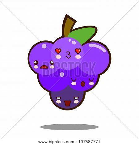 grapes fruit cartoon character icon kawaii Flat design Vector Illustration
