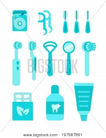 Dental care vector icons. Oral hygiene individual tools. Flat simple illustrations. Clean mouth home equipment such as tooth brushes, dental floss, tongue scrapers, toothpaste. Isolated on white