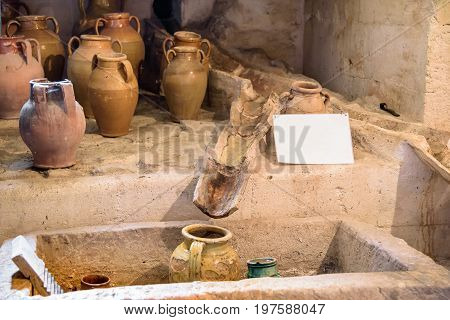 Rainwater garthering canal system in an ancient house of Sassi of Matera Basilicata Italy