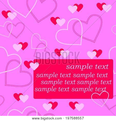 Seamlessly vector wallpaper valentine with hearts and sample text