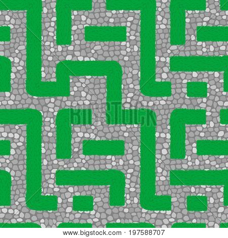 Live square labyrinth. Seamless vector background pattern