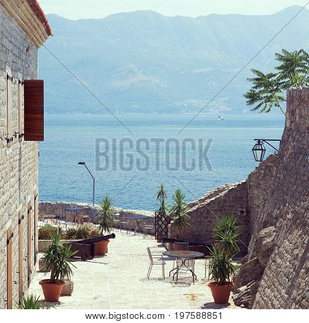 Inside the Citadel of old town of Budva Montenegro