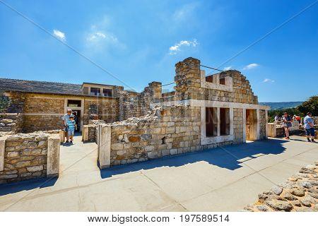 Knossos, Crete, June 10, 2017: Scenic Ruins Of The Minoan Palace Of Knossos. Knossos Palace Is The L