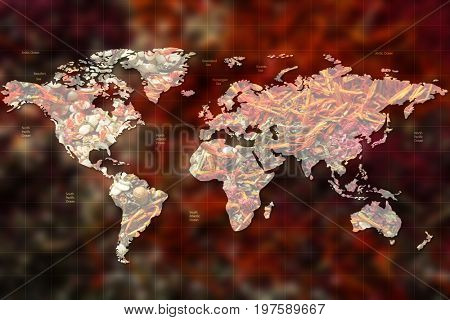 World map and different spices on background. Logistic and wholesale concept