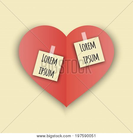 love Invitation card Valentines day on beige nackground with stickers, paper cut red heart. Vector illustration.