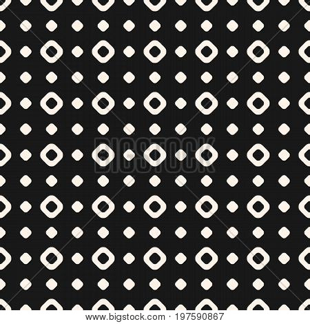 Polka dot pattern. Simple vintage texture with small circles and rings. Seamless pattern. Subtle abstract geometric background. Black & white illustration. Geometric pattern. Square grid, repeat tiles. Decorative design. Grid pattern.