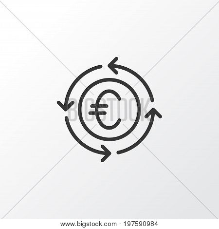 Premium Quality Isolated Currency Recycle Element In Trendy Style.  Euro Exchange Icon Symbol.