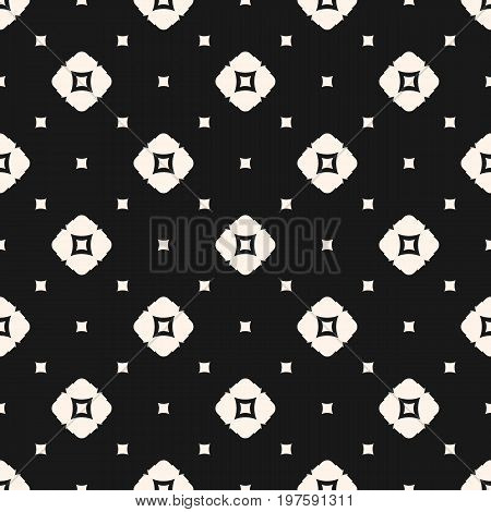 Seamless pattern. Simple modern abstract geometrical background with smooth shapes, squares rhombuses. Geometric pattern.  Monochrome texture. Rhombus pattern. Dark design for decor, fabric, covers, package, digital. Square pattern.