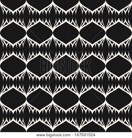 Ornamental pattern. Vector seamless pattern, lace, texture, tissue, mesh. Modern background with thin curved lines. Abstract dark monochrome ornament. Design element for prints, decor, fabric, package, cover. Traditional geometric pattern.