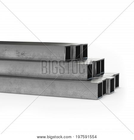 Stainless steel tube 3d rendering isolated. Side view.