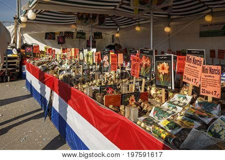 Munich, Germany - September 24, 2016: Sales stall on the Theresienwiese during the Bavarian Agricultural Fair with multiple flowers being sold the fair was in parallel during Oktoberfest