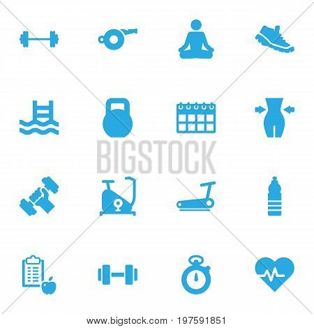 Collection Of Drink, Timer, Bodybuilding And Other Elements.  Set Of 16 Bodybuilding Icons Set.