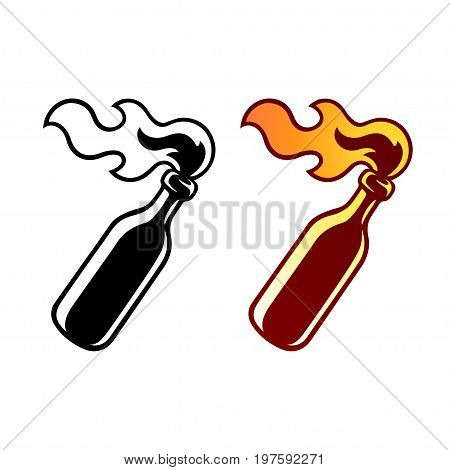 Molotov cocktail icon in color and black and white. Vector clip art of riot and revolution symbol