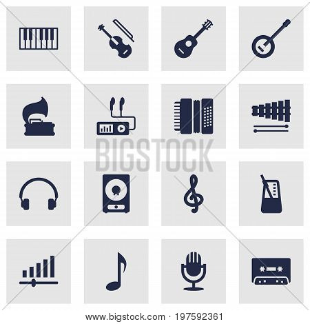 Collection Of Tone Symbol, Amplifier, Quaver And Other Elements.  Set Of 16 Song Icons Set.