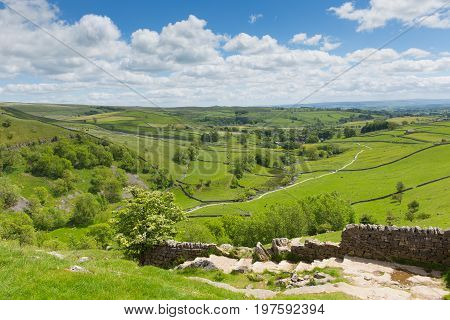 Yorkshire Dales view from Malham Cove UK