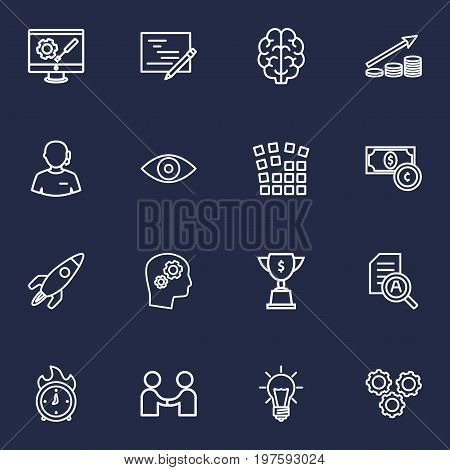 Collection Of Deadline, Solution, Idea And Other Elements.  Set Of 16 Strategy Outline Icons Set.