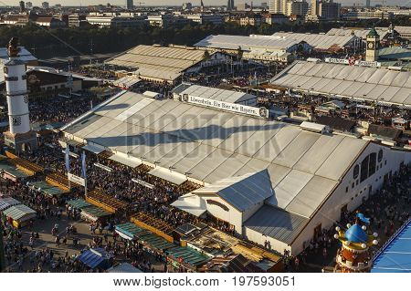 Munich Germany - September 24 2016: Aerial view on the Oktoberfest on Theresienwiese in Munich