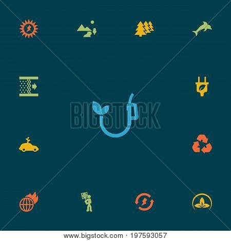 Collection Of Energy, Nature, Volunteer And Other Elements.  Set Of 13 Atmosphere Icons Set.