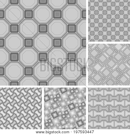 Seamless vector square background patterns with tiles
