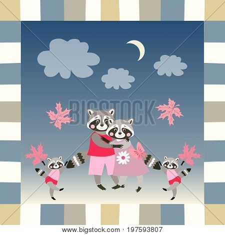 Baby shower invitation template with cute raccoons parents and twins - children. Vector illustration.