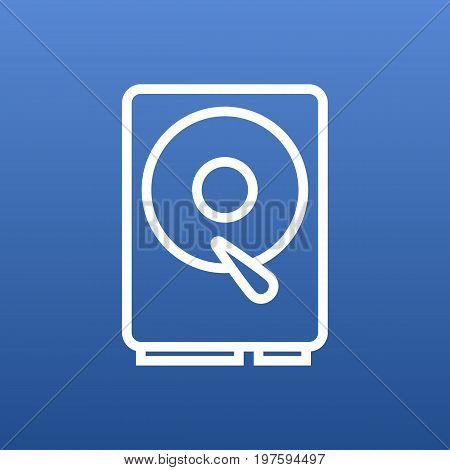Isolated Hard Drive Outline Symbol On Clean Background
