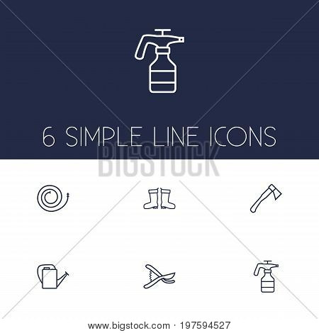 Collection Of Waterproof Shoes, Hatchet, Firehose And Other Elements.  Set Of 6 Horticulture Outline Icons Set.