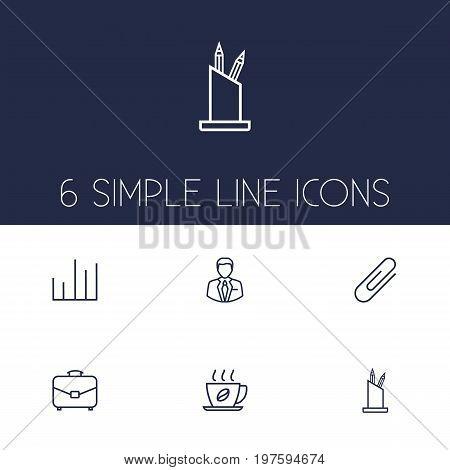 Collection Of Pen Storage, Administrator, Hot Drink And Other Elements.  Set Of 6 Cabinet Outline Icons Set.