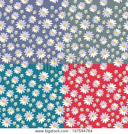 Cute seamless floral pattern with daisies and yarrow flowers on different bright backgrounds. Vector illustration. Print for fabric
