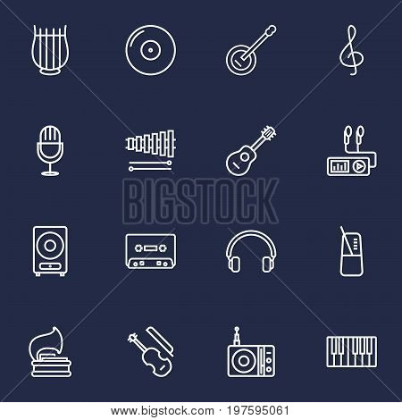 Collection Of Station, Turntable, Fortepiano And Other Elements.  Set Of 16 Melody Outline Icons Set.