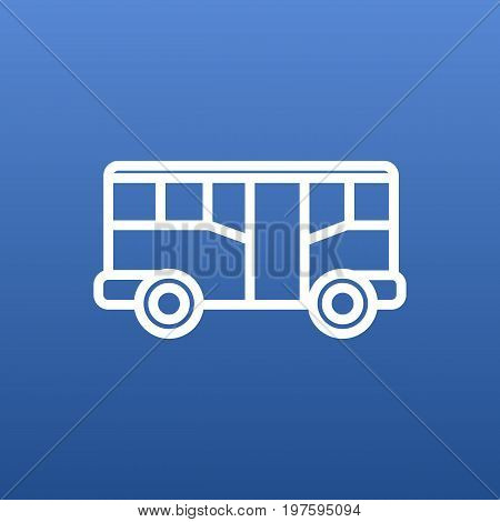 Vector Bus Element In Trendy Style.  Isolated Autobus Outline Symbol On Clean Background.