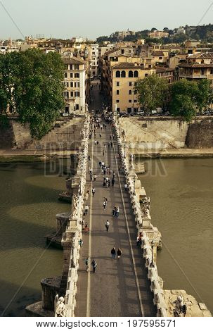 Ponte Sant' Angelo and River Tiber viewed from Castel Sant Angelo in Rome, Italy.