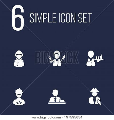 Collection Of Journalist, Stylist, Coder And Other Elements.  Set Of 6 Position Icons Set.