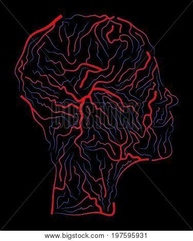 Vein  Human Head  Vector Symbol Icon Design. Beautiful Illustration Isolated On  Black Background