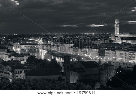 Florence skyline viewed from Piazzale Michelangelo at night black and white