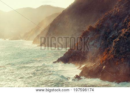 Coast line of Mediterranean Sea in Cinque Terre, Italy.