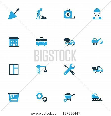 Industry Colorful Icons Set. Collection Of Cement Vehicle, Gear, Dozer And Other Elements