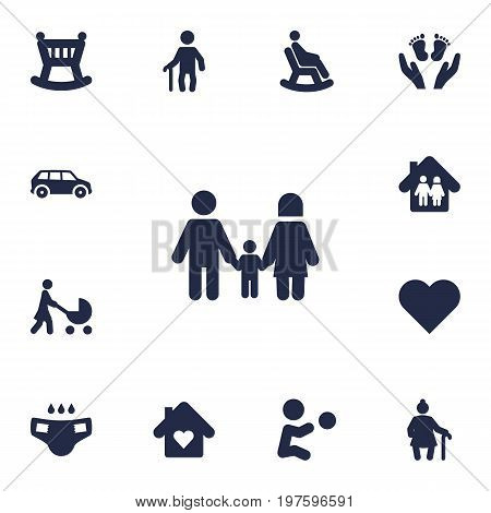 Collection Of Cot, Playing, Perambulator And Other Elements.  Set Of 13 People Icons Set.