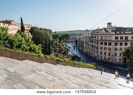Rome Italy - August 20 2016: View of Rome from steps of Ara Coeli a sunny summer day