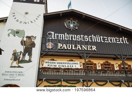 Munich, Germany - September 24, 2016: Facade of the Armbrustschuetzenzelt with the balcony and beautiful paintings
