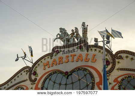 Munich, Germany - September 24, 2016: Marstall tent on the Theresienwiese in Munich during Oktoberfest